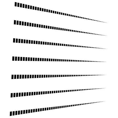 Reticolo geometrico 3D segmentato, linee tratteggiate. Svanire, diminuire le strisce in prospettiva. Strisce irregolari