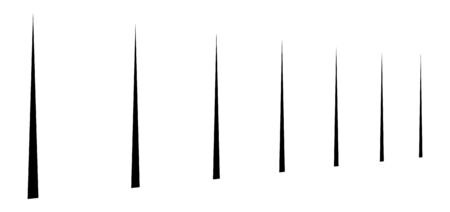 Vertical lines in columns. Perspective parallel stripes. 3d lines vanish, diminish. Simple straight lines in row illustration / pattern