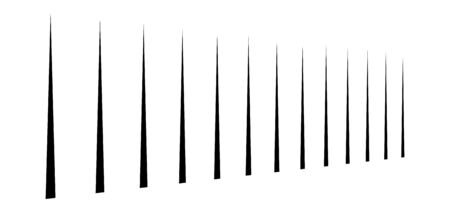 vertical straight parallel lines in perspective. 3d lines, stripes pattern. vertical streaks, strips vanishing, diminish lines.  Vectores