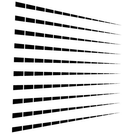 3d segmented, dashed lines geometric pattern. Vanish, diminish strips in perspective. Irregular stripes 向量圖像
