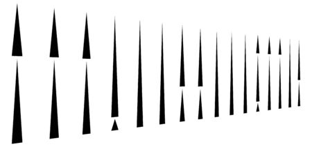 irregular (dashed, segmented) vertical lines in a row. 3d stripes in perspective. vertical straight and parallel lines, strips, streaks abstract pattern, design element
