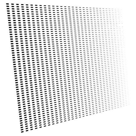 3d segmented, dashed lines geometric pattern. Vanish, diminish strips in perspective. Irregular stripes Ilustração