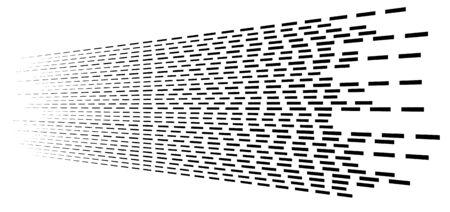 Random 3d dashed lines in perspective. segmented stripes geometric pattern. vanish, diminish streaks. irregular fading strips