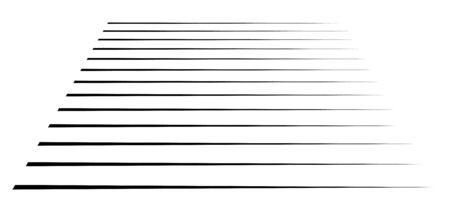 Perspective 3d lines. Stripes vanish, diminish into horizon. Simple straight, parallel strips, streaks pattern  illustration. Thin lines horizontal