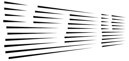 dynamic burst lines. comic action, speed lines. 3d horizontal parallel strips. straight streaks vanishing, diminishing. 3d lines illustration Illustration