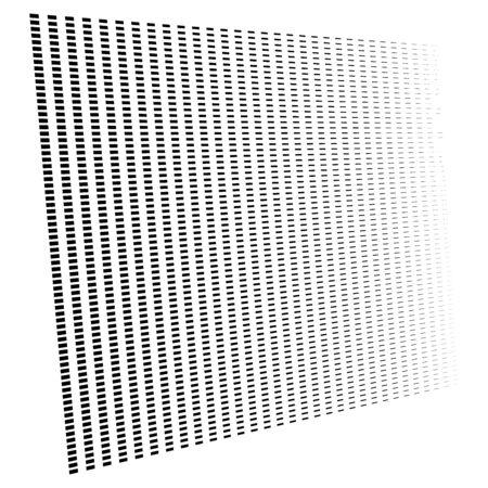 3d segmented, dashed lines geometric pattern. Vanish, diminish strips in perspective. Irregular stripes Illustration