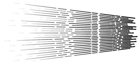 Random 3d dashed lines in perspective. segmented stripes geometric pattern. vanish, diminish streaks. irregular fading strips Illustration