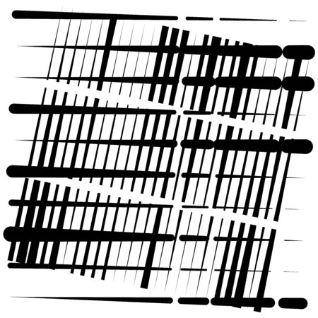 random grid, mesh pattern. grating, trellis texture. intermittent, interrupt lines lattice. intersecting segmented stripes. dashed crossing streaks design. abstract geometric illustration