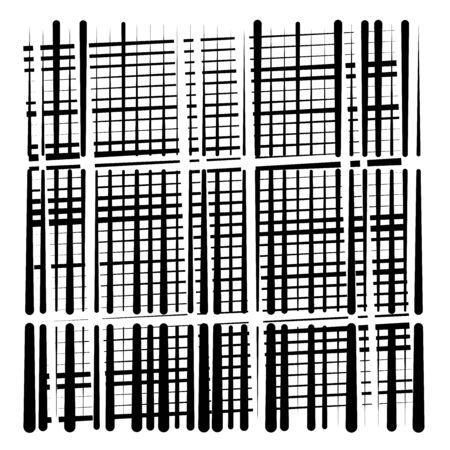 cuadrícula aleatoria, patrón de malla. rejilla, textura enrejada. celosía intermitente de líneas de interrupción. intersección de franjas segmentadas. diseño de rayas de trazos discontinuos. ilustración geométrica abstracta