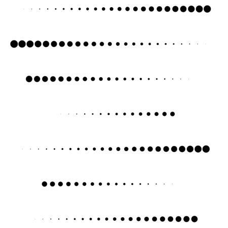 Punkte, Halbtonelement. gesprenkeltes, gepunktetes geometrisches Muster. Kreise Halbtonmuster. Tupfen, Screntone-Designelement.