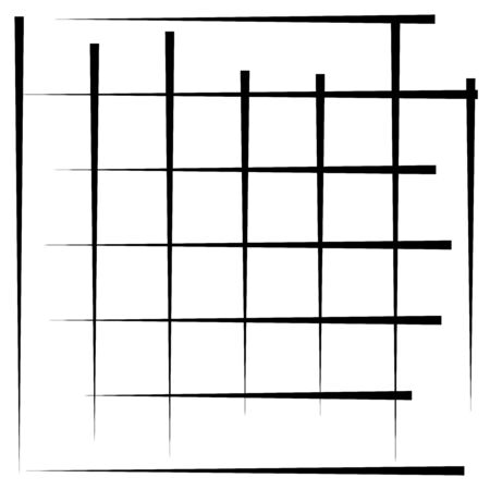 Grille, élément de maillage. grille cellulaire, réticulaire, treillis. tableau de bissectrices, lignes de chevauchement, rayures. élément géométrique monochrome, noir et blanc, motif. Intersecter des lignes droites, parallèles, des rayures