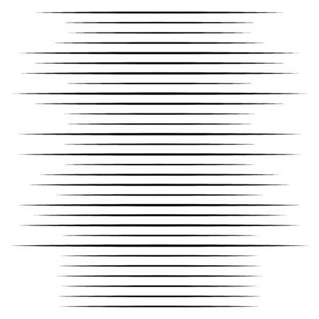 Elemento de semitono de líneas aleatorias. Líneas horizontales aleatorias. Rayas irregulares, rectas y paralelas. Tiras, rayas patrón geométrico de medio tono.
