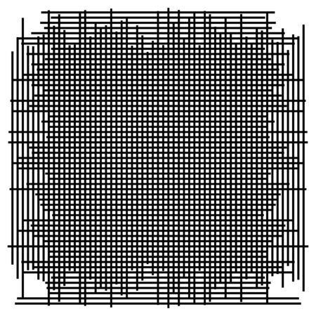 Grid, mesh element. cellular, reticular grate, lattice. array of bisect, overlap lines, stripes. geometric monochrome, black and white element, pattern. Intersect straight, parallel lines, stripes Illustration