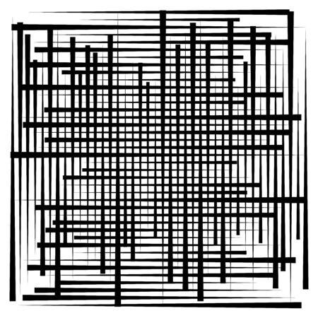 Zufälliges Linienraster, Masche. Dynamisch, unregelmäßige Überlappung, Schnittlinien, Streifen. Durcheinander, netzartiges geometrisches Element. zufällige Linien Gitter, Gitter Vektorgrafik