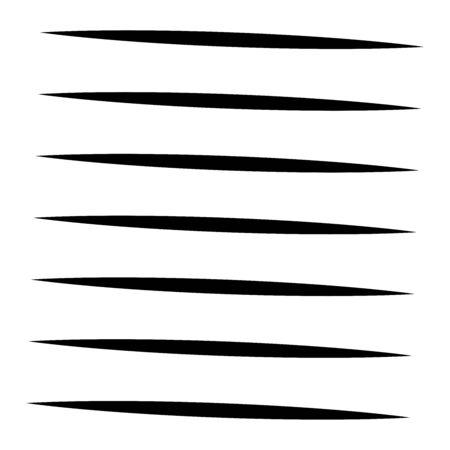 Horizontal lines geometric element. Straight parallel lines, stripes. Horizontal streaks, strips pattern. Linear, lineal monochrome, black and white geometric design element