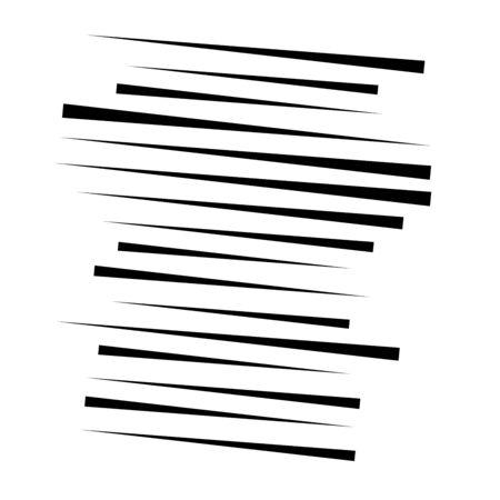 Zufälliges Linienelement. Zufällige horizontale Linien. Unregelmäßige gerade, parallele Streifen. Streifen, Streifen geometrisches Halbtonmuster Vektorgrafik