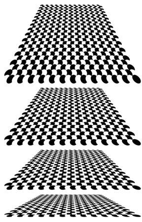 Kariert, Checker-Ebene im Hintergrund der Perspektive 3D. Verschwinden, Schachbrett verkleinern, Schachbrett in den fernen Horizont. Leere Szene, Raum, virtueller Innenraumhintergrund. Neigung konvergieren, zusammenfließen, Design verschmelzen