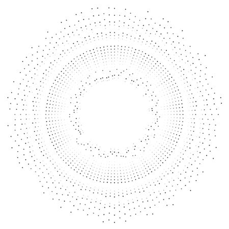 Halftone rays, beams. dots, dotted radial burst lines. Sparkle, fireworks, gleam design. Circular, concentric stripes. radiating, converging trail lines