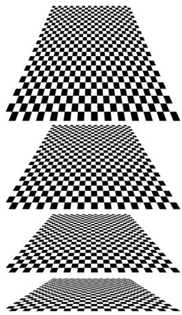 Chequered, checker plane in 3D perspective background. Vanishing, diminish chessboard, checkerboard into distant horizon. Empty scene, space, virtual interior room background. Incline converging, confluence, merging design