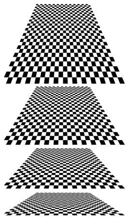 Kariert, Checker-Ebene im Hintergrund der Perspektive 3D. Verschwinden, Schachbrett verkleinern, Schachbrett in den fernen Horizont. Leere Szene, Raum, virtueller Innenraumhintergrund. Neigung konvergieren, zusammenfließen, Design verschmelzen Vektorgrafik