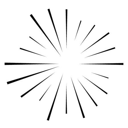Linee circolari casuali starburst, sunburst. Radiali convergenti, strisce radianti, raggi. Raggi concentrici, raggi. Fuochi d'artificio, esplosioni, scintille