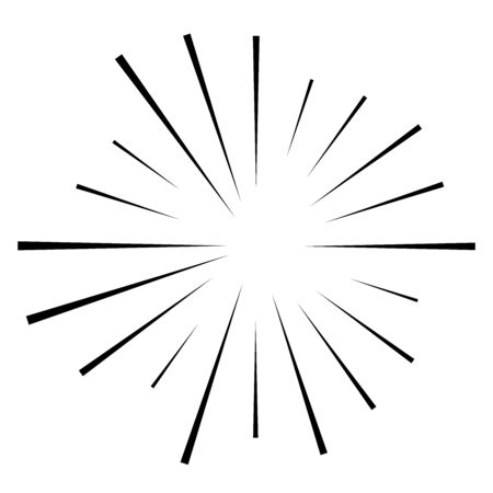 Random circular lines starburst, sunburst. Converging radial, radiating stripes, spokes. Concentric rays, beams. Fireworks, explosion, sparkle trail lines