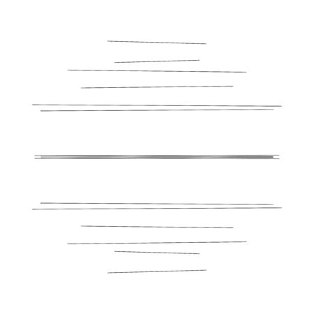 Random dynamic lines circle. Parallel, straight, scatter lines, stripes. Irregular horizontal strips, streaks geometric element. Linear, lineal circular pattern. Monochrome version