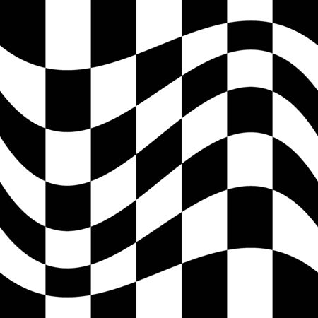 Oscillation, ripple, squeeze warp. Curve, camber element. Wavy, waving distortion on checkered, chequered, chess board pattern. Billowy, undulating deformation on squares, chess background Illustration