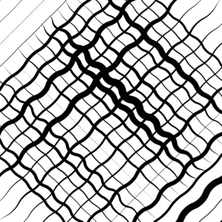 Wavy, waving, zigzag lines crosshatch grid, mesh pattern. Abstract curvy criss-cross lines texture. Tangle wrinkle stripes. Diagonal, oblique strips with rumple, frizzle, crimp distort