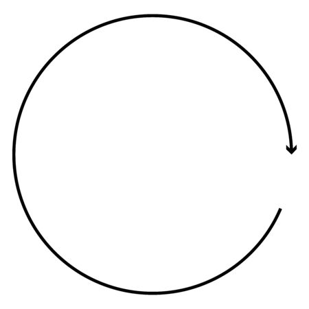 Circular, circle arrow right. Radial arrow icon, symbol. Clockwise rotate, twirl, twist concept element. Spin, vortex pointer. Whirlpool, loop cursor shape
