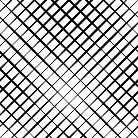 Skew, diagonal, oblique lines grid, mesh.Cellular, interlace background. Interlock, intersect traverse fractal lines.Dynamic bisect stripes abstract geometric pattern.Grating, trellis, lattice texture Vettoriali