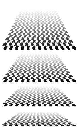 Plano cuadriculado, a cuadros en perspectiva 3D de fondo. Desapareciendo, disminuyendo el tablero de ajedrez, tablero de ajedrez en el horizonte lejano. Escena vacía, espacio, fondo de sala interior virtual. Inclinación convergente, confluencia, fusión de diseño Ilustración de vector