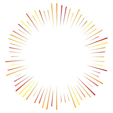 Orange, yellow radial, radiating lines. Rays, beams. Starburst, sunburst element. Sparkle, gleam, twinkle effect. Circular, concentric design  イラスト・ベクター素材