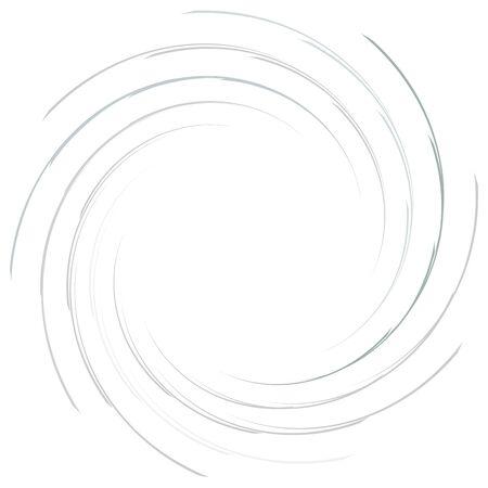 Abstract spiral, twist. Radial swirl, twirl curvy, wavy lines element. Circular, concentric loop pattern. Revolve, whirl design. Whirlwind, whirlpool illustration 일러스트