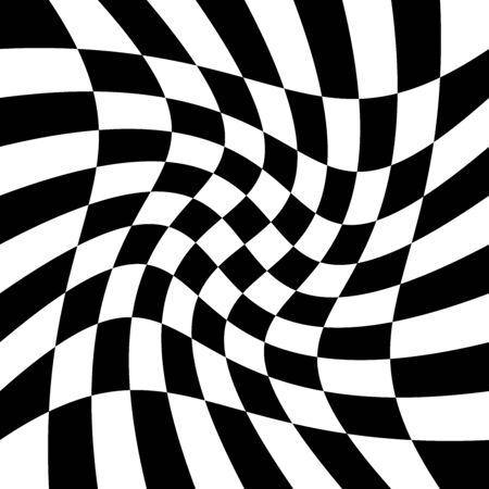 torsion, rotary deform.gyration, revolve element.tweak converging checker, chequered pattern / background. centrifuge, spin whirligig.vortex, whirl, swirl whirlpool background.vertigo, hypnosis op-art Stock Vector - 131666227