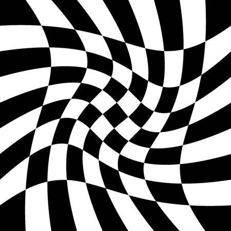 torsion, rotary deform.gyration, revolve element.tweak converging checker, chequered pattern / background. centrifuge, spin whirligig.vortex, whirl, swirl whirlpool background.vertigo, hypnosis op-art Stock Vector - 131666424
