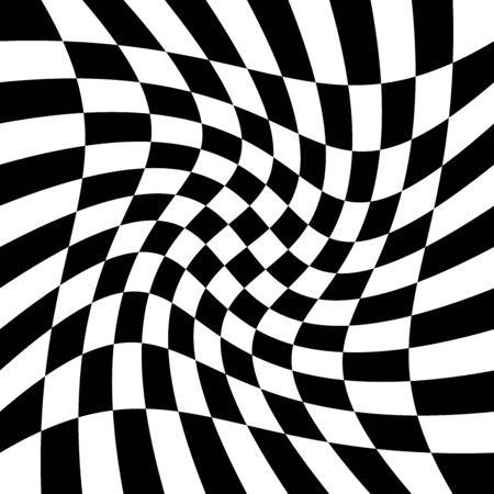 torsion, rotary deform.gyration, revolve element.tweak converging checker, chequered pattern / background. centrifuge, spin whirligig.vortex, whirl, swirl whirlpool background.vertigo, hypnosis op-art Stock Vector - 131523589