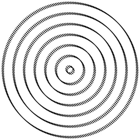 geometric circle of squares, rectangles. angular spiral,vortex abstract geometry design element. concentric squares half tone pattern. circular halftone.radial circles, rings design Vektorgrafik