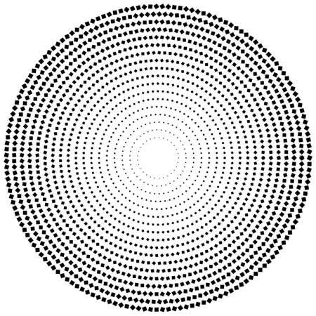 geometric circle of squares, rectangles. angular spiral,vortex abstract geometry design element. concentric squares half tone pattern. circular halftone.radial circles, rings design
