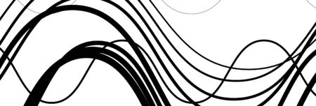 Random wavy, zig-zag lines abstract art texture, background. Sinuous, tangled intersecting, overlapping shapes chaotic composition. Chaos pattern with scattered elements 写真素材 - 136505245