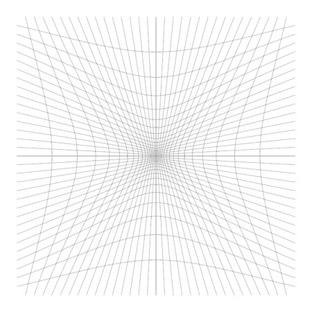 Inward, recess curved lines grid, mesh. Incline compress hollow, indent, dent distortion. Compression, depression negative space pattern. warp, deform lattice, grating or trellis abstract element Ilustração