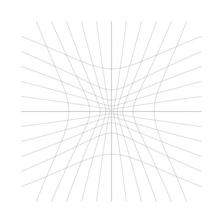 Inward, recess curved lines grid, mesh. Incline compress hollow, indent, dent distortion. Compression, depression negative space pattern. warp, deform lattice, grating or trellis abstract element Illustration