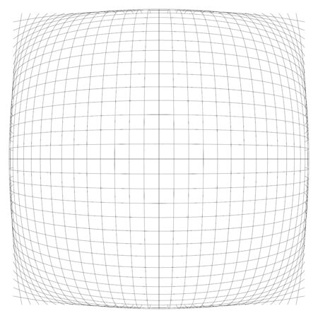 3D convex spherical, globe, orb protrude distortion, deformation on lines grid, mesh. Bulge, bloat, inflate sphere. Bulb, bump or swell effect wire-frame. Dilate intersect lines. Distend warp matrix Imagens - 137542519