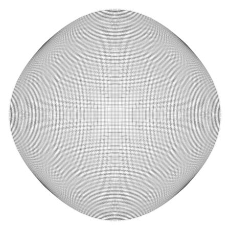 Thin lines globe, sphere lattice, grating pattern. deformed convex, protrude orbicular lines, stripes. Abstract, geometric spherical, globular effect