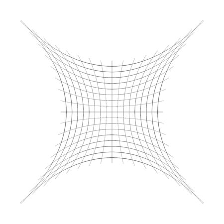 Compressed, squeeze, squish distortion on grid, mesh. concave 4-point star-like shape made of array, lattice of curved, arc lines. depressed, indented abstract geometric element