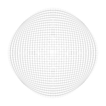 Spherical, globular mesh, grid. Convex, bulbous, circular pattern. Lines forming a circle. Protrude, inflate distortion, deformation