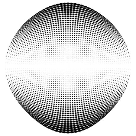Half-tone dots. Dotted, circles pattern. Sphere, orb or globe distortion speckles. Diffuse radial, radiating bulge, bloat warp. Polka-dot inflate design. Abstract circles circular geometric pattern