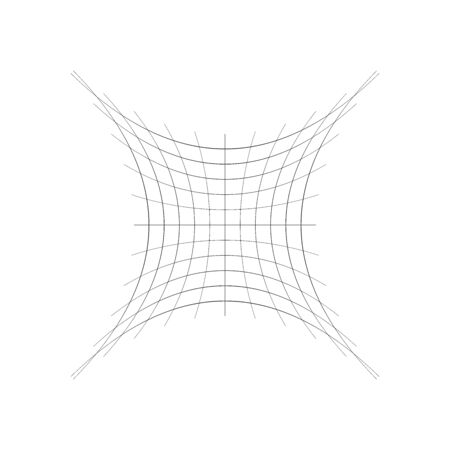 squished, condensed, pinched lines abstract geometric element. concentrated, compressed, condensed shape. distorted, deformed mesh, grid of thin intersecting lines