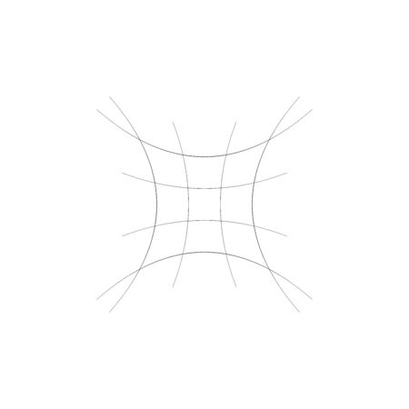 Compressed, squeeze, squish distortion on grid, mesh. concave 4-point star-like shape made of array, lattice of curved, arc lines. depressed, indented abstract geometric element Stock fotó - 137486697