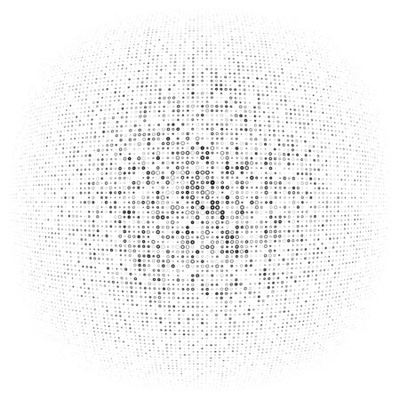 Half-tone dots, circles, dotted element. Sphere, orb or globe distortion speckles. Diffuse radial, radiating bloat, bulge warp. Polka-dot inflate design. Circular geometric pattern, abstract circles